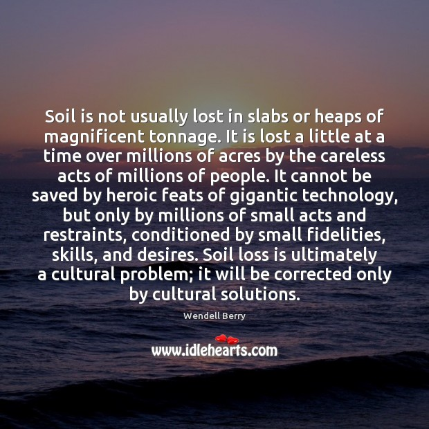 Soil is not usually lost in slabs or heaps of magnificent tonnage. Wendell Berry Picture Quote