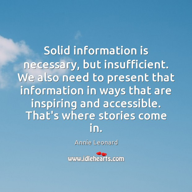 Image, Solid information is necessary, but insufficient. We also need to present that