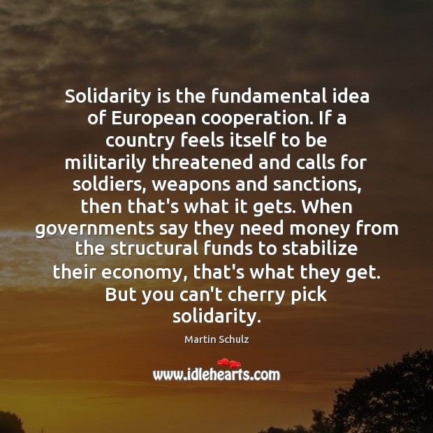 Solidarity is the fundamental idea of European cooperation. If a country feels Martin Schulz Picture Quote