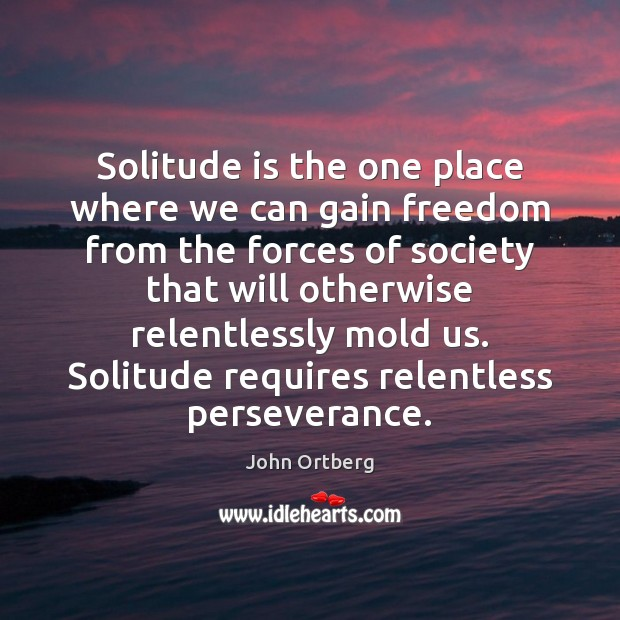 Solitude is the one place where we can gain freedom from the John Ortberg Picture Quote