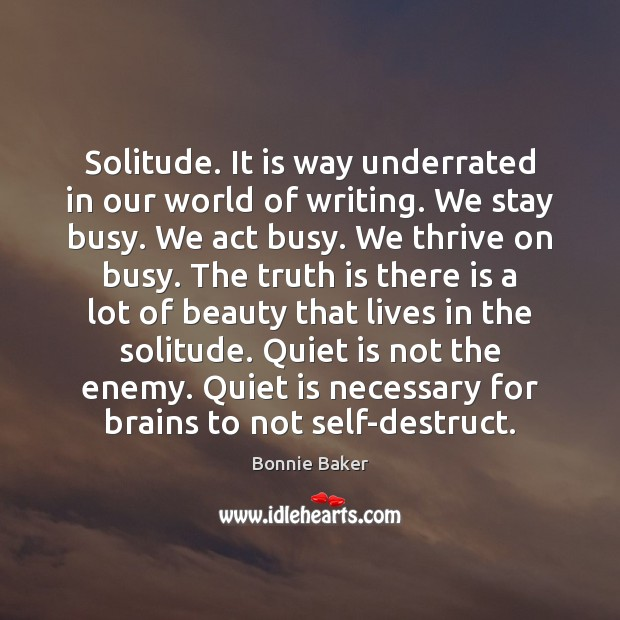 Image, Solitude. It is way underrated in our world of writing. We stay