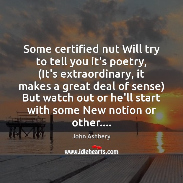 Some certified nut Will try to tell you it's poetry, (It's extraordinary, John Ashbery Picture Quote