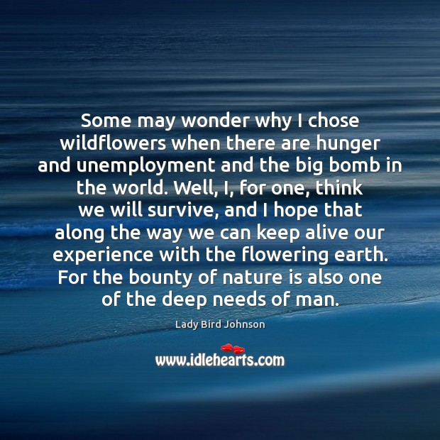 Some may wonder why I chose wildflowers when there are hunger and Lady Bird Johnson Picture Quote