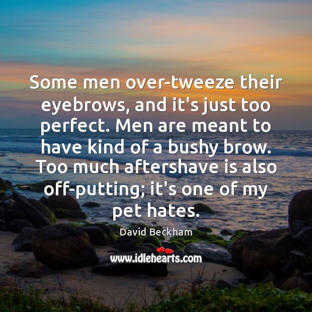 Image, Some men over-tweeze their eyebrows, and it's just too perfect. Men are
