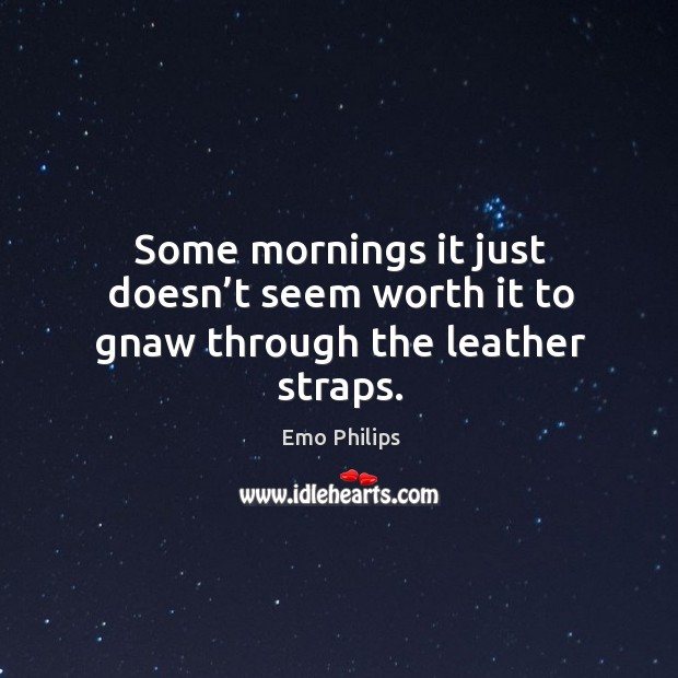 Some mornings it just doesn't seem worth it to gnaw through the leather straps. Image