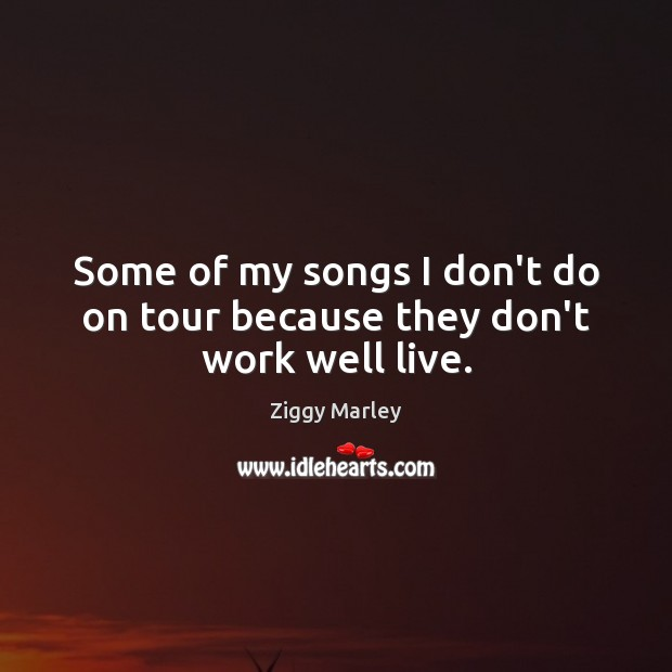 Some of my songs I don't do on tour because they don't work well live. Ziggy Marley Picture Quote