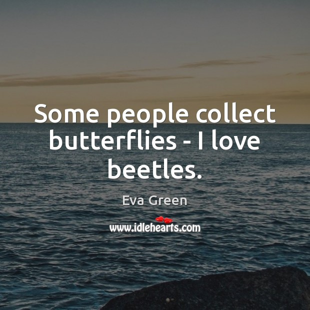 Some people collect butterflies – I love beetles. Eva Green Picture Quote