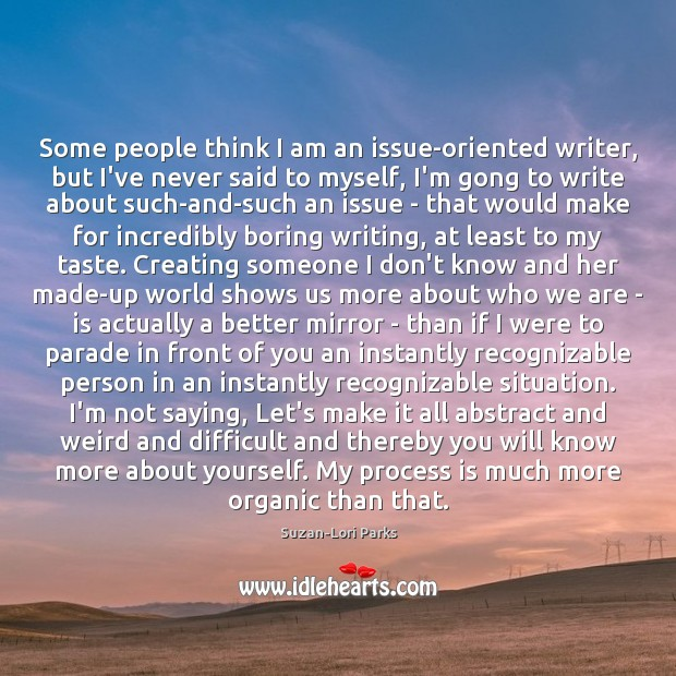 Some people think I am an issue-oriented writer, but I've never said Image