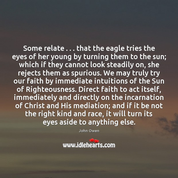 Some relate . . . that the eagle tries the eyes of her young by Image