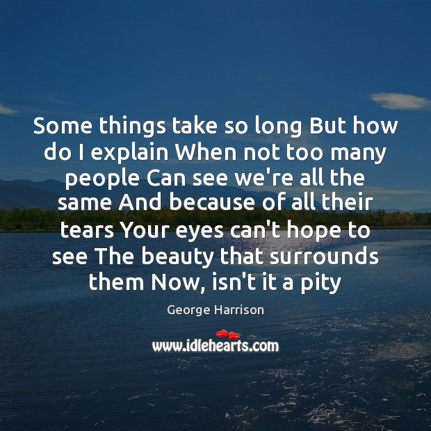 Some things take so long But how do I explain When not George Harrison Picture Quote