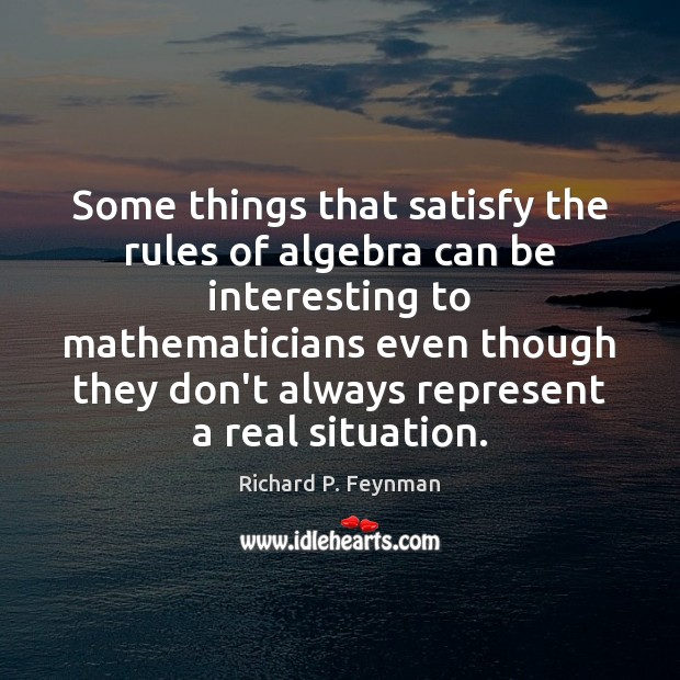 Some things that satisfy the rules of algebra can be interesting to Richard P. Feynman Picture Quote