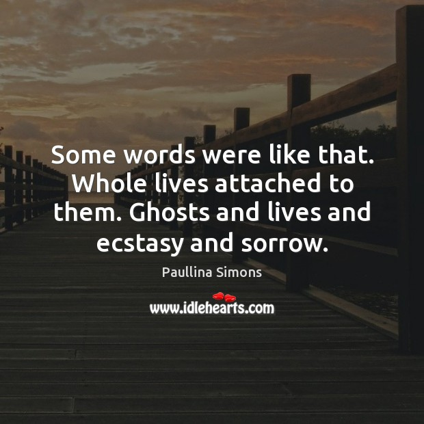 Some words were like that. Whole lives attached to them. Ghosts and Image