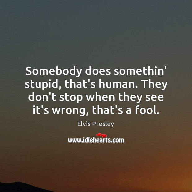 Somebody does somethin' stupid, that's human. They don't stop when they see Elvis Presley Picture Quote