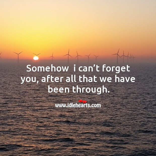 Somehow  I can't forget you, after all that we have been through. Image