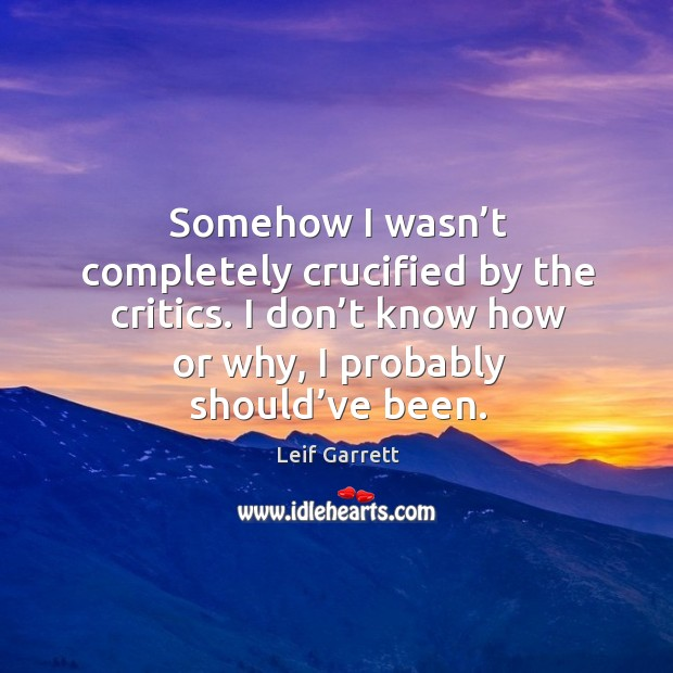 Somehow I wasn't completely crucified by the critics. I don't know how or why, I probably should've been. Image