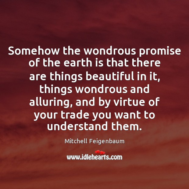 Somehow the wondrous promise of the earth is that there are things Image