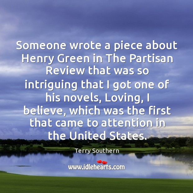 Image, Someone wrote a piece about henry green in the partisan review that was so intriguing that