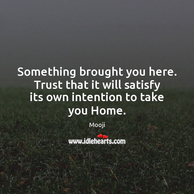 Something brought you here. Trust that it will satisfy its own intention to take you Home. Mooji Picture Quote