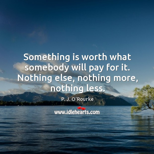 Something is worth what somebody will pay for it. Nothing else, nothing more, nothing less. Image