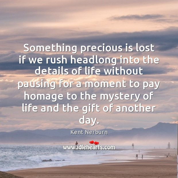 Something precious is lost if we rush headlong into the details of Kent Nerburn Picture Quote