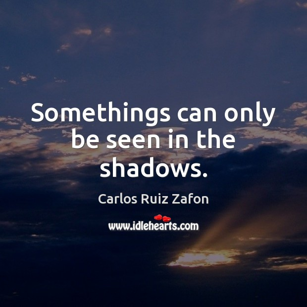 Somethings can only be seen in the shadows. Carlos Ruiz Zafon Picture Quote