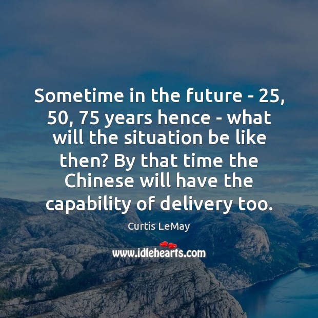 Image, Sometime in the future – 25, 50, 75 years hence – what will the situation
