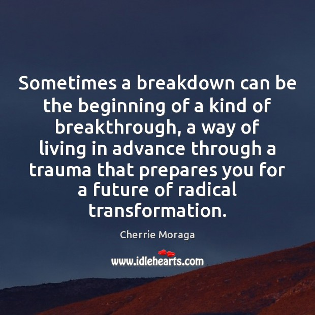 Sometimes a breakdown can be the beginning of a kind of breakthrough, Cherrie Moraga Picture Quote