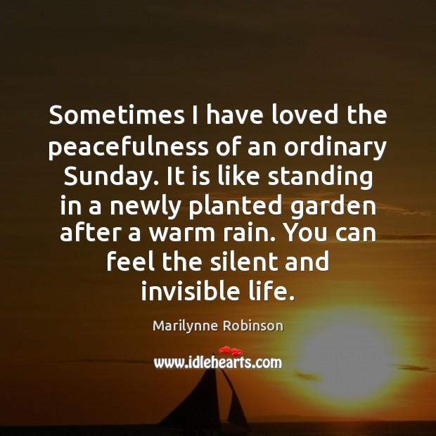 Sometimes I have loved the peacefulness of an ordinary Sunday. It is Marilynne Robinson Picture Quote
