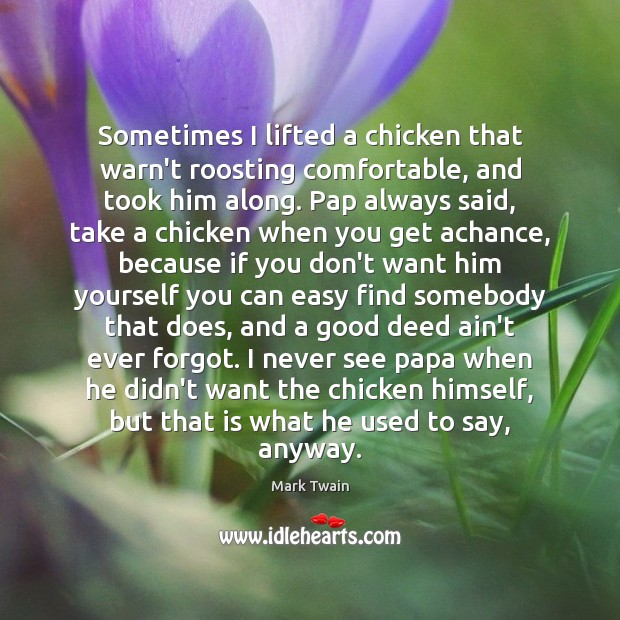 Image, Sometimes I lifted a chicken that warn't roosting comfortable, and took him