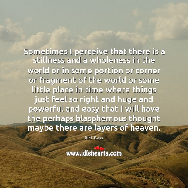 Sometimes I perceive that there is a stillness and a wholeness in Rick Bass Picture Quote