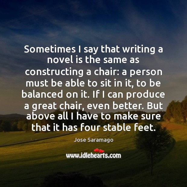 Image, Sometimes I say that writing a novel is the same as constructing