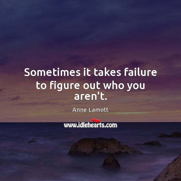Sometimes it takes failure to figure out who you aren't. Anne Lamott Picture Quote
