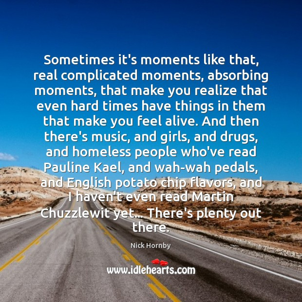Sometimes it's moments like that, real complicated moments, absorbing moments, that make Nick Hornby Picture Quote