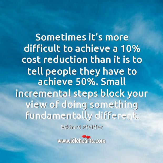 Sometimes it's more difficult to achieve a 10% cost reduction than it is Image