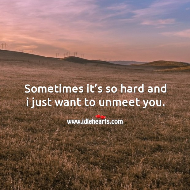 Sometimes it's so hard and I just want to unmeet you. Image