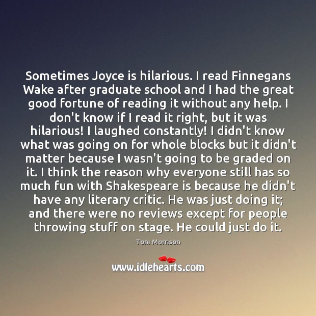 Sometimes Joyce is hilarious. I read Finnegans Wake after graduate school and Toni Morrison Picture Quote