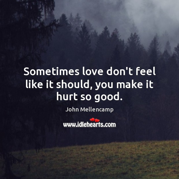 Sometimes love don't feel like it should, you make it hurt so good. John Mellencamp Picture Quote