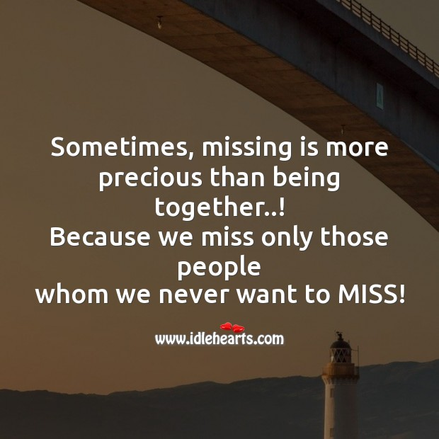 Sometimes, missing is more precious than being together..! Image