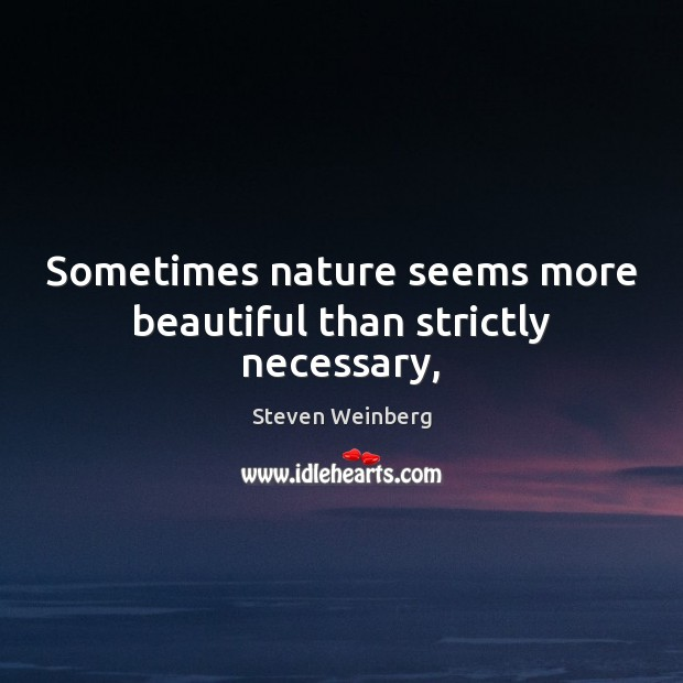 Sometimes nature seems more beautiful than strictly necessary, Steven Weinberg Picture Quote