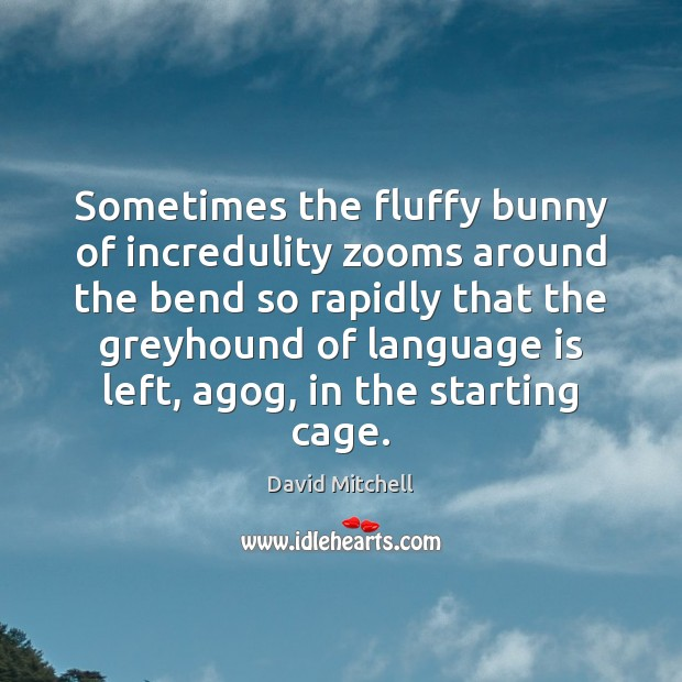 Sometimes the fluffy bunny of incredulity zooms around the bend so rapidly David Mitchell Picture Quote