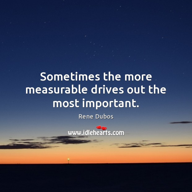 Sometimes the more measurable drives out the most important. Rene Dubos Picture Quote