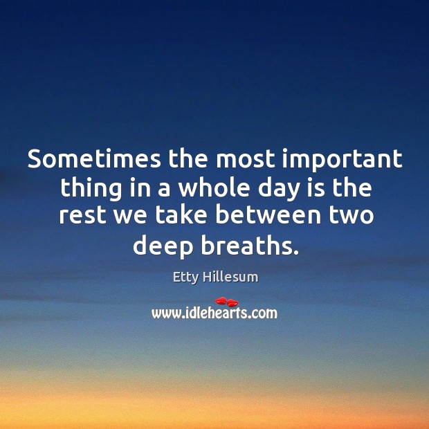 Sometimes the most important thing in a whole day is the rest we take between two deep breaths. Etty Hillesum Picture Quote