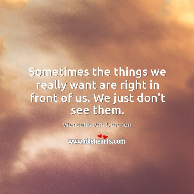 Sometimes the things we really want are right in front of us. We just don't see them. Image
