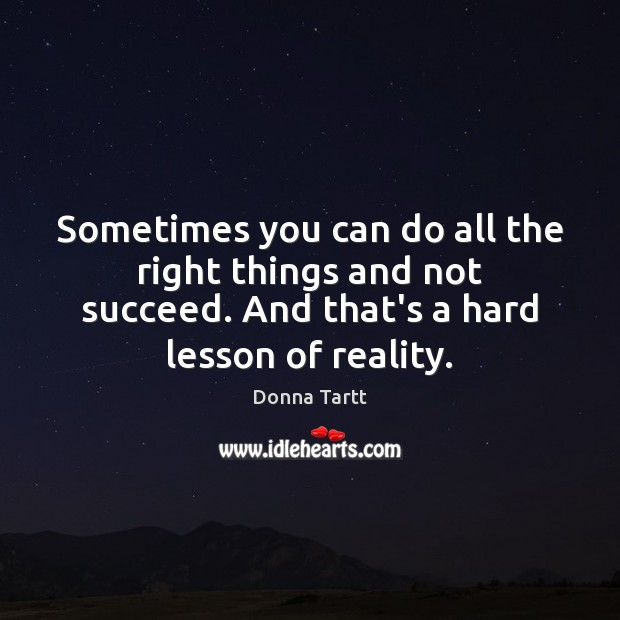 Sometimes you can do all the right things and not succeed. And Donna Tartt Picture Quote