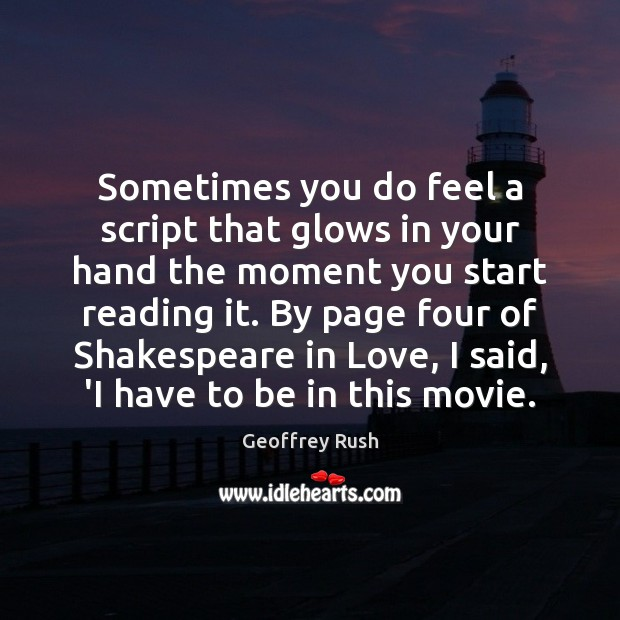 Sometimes you do feel a script that glows in your hand the Image