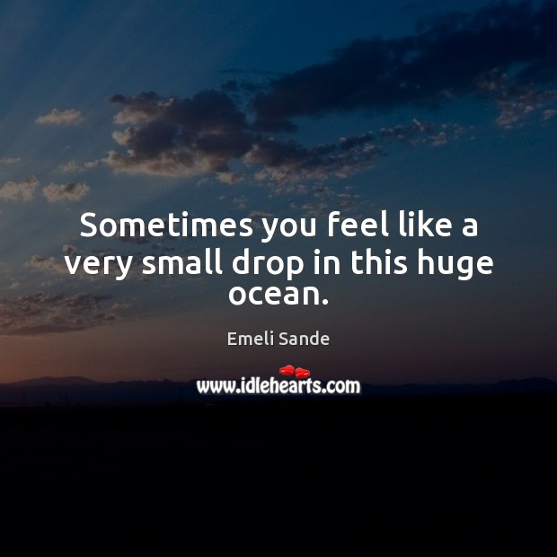 Sometimes you feel like a very small drop in this huge ocean. Emeli Sande Picture Quote