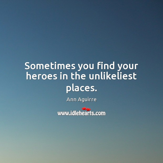 Sometimes you find your heroes in the unlikeliest places. Ann Aguirre Picture Quote