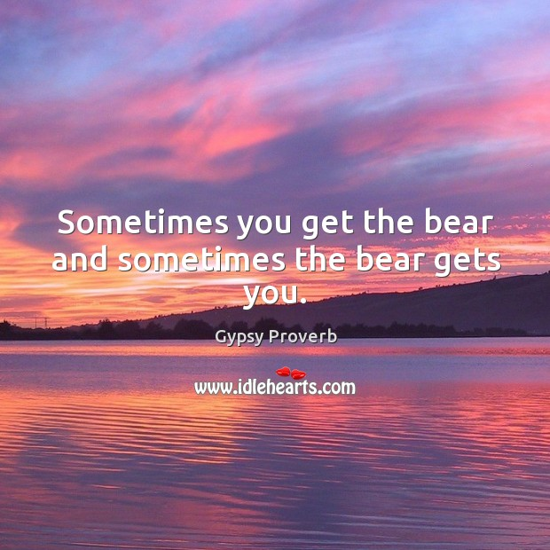 Sometimes you get the bear and sometimes the bear gets you. Gypsy Proverbs Image