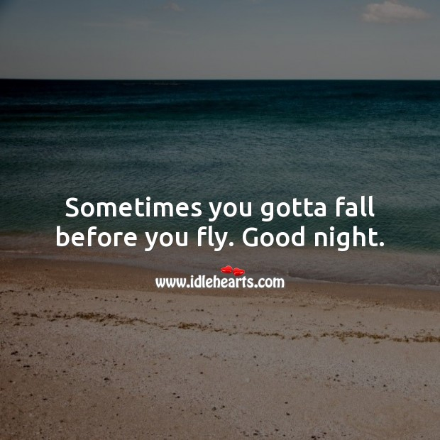 Sometimes you gotta fall before you fly. Good night. Good Night Quotes Image