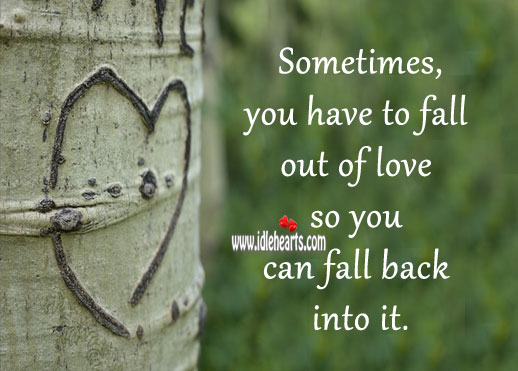 Image, Sometimes, you have to fall out of love so you can fall back into it.